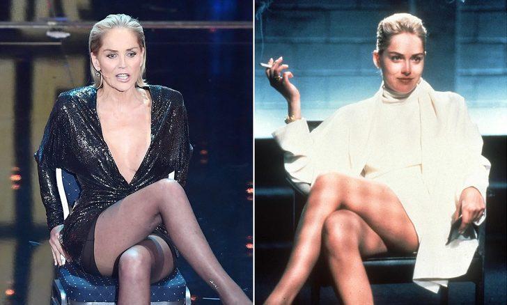 Sharon Stone, Temel İçgüdü filmindeki meşhur sahneyi canlı yayında yeniden canlandırdı