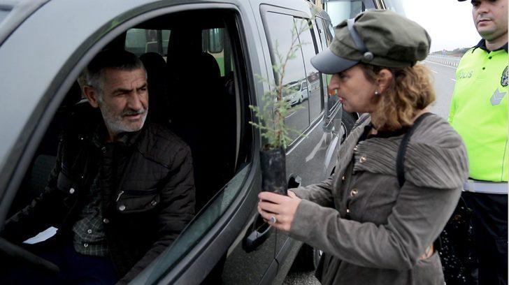 Trafik cezası yazılacağını sanan sürücü, 'fidan' dikti