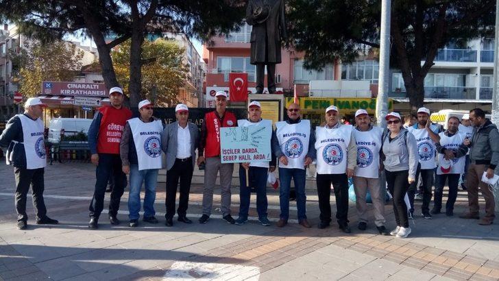 Gaziemir Belediyesinde çalışan işçilerden işten çıkarılmaya tepki