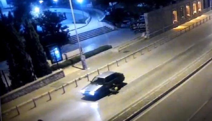 İzmir'de şoke eden anlar! Polisi aracın kaputunda sürükledi