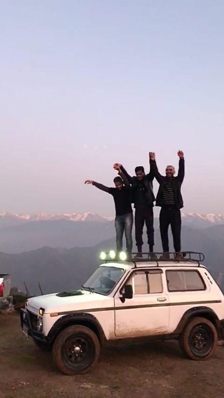 """""""Bu dağlara ne biz ne de Lada dayanamaz"""" dediler, jip üstünde tulum eşliğinde horon oynadılar"""