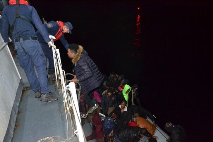 Çanakkale'de lastik bot içinde 43kaçak göçmen yakalandı
