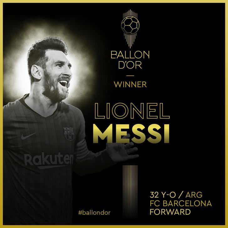 Ballon d'Or 6'ncı kez Lionel Messi'nin