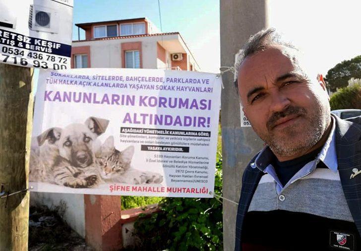 Çeşmeli muhtar, sokak hayvanlarının haklarını hatırlattı