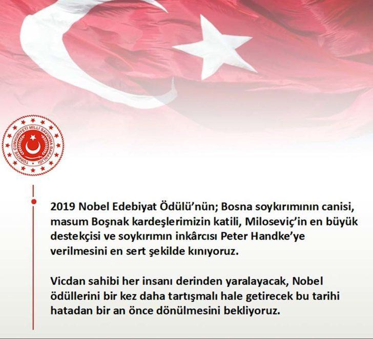MSB: Nobel Edebiyat Ödülü'nün soykırımın inkarcısı Handke'ye verilmesini kınıyoruz