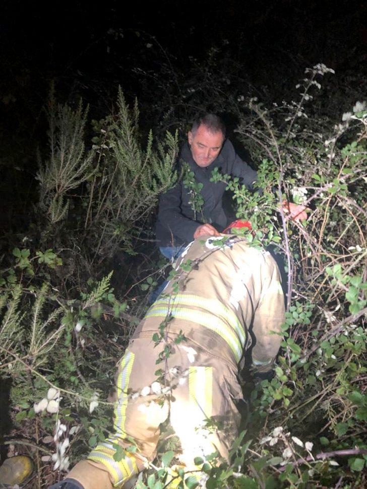 Sarıyer'de çalıların arasında mahsur kalan kişi kurtarıldı