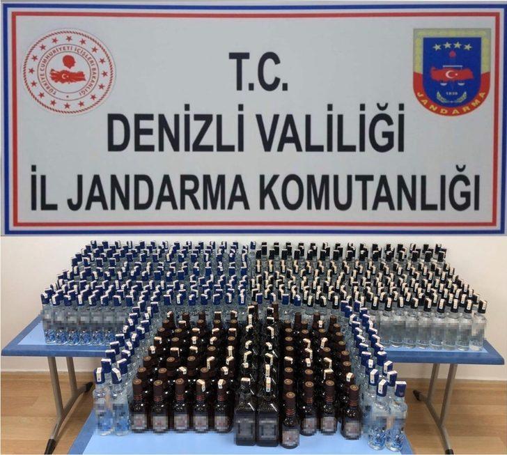 Jandarma 484 şişe kaçak içki ele geçirdi