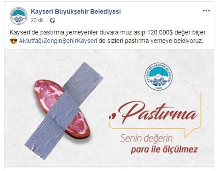 Kayseri'de belediyeden 'pastırma' paylaşımı