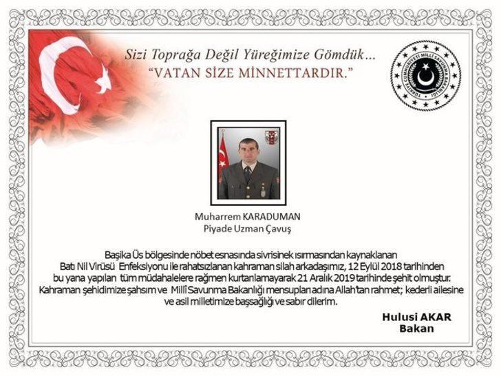 Bakan Akar'dan şehit askerler için başsağlığı mesajı