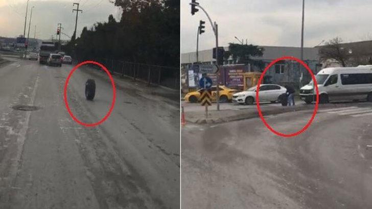 Kocaeli'de kamyondan fırlayan tekerlek trafiği kilitledi