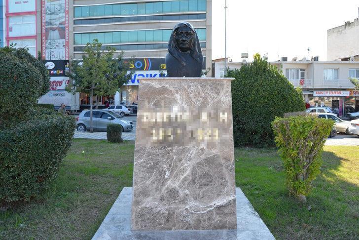 Adana'da Zübeyde Hanım'ın büstüne çirkin saldırı