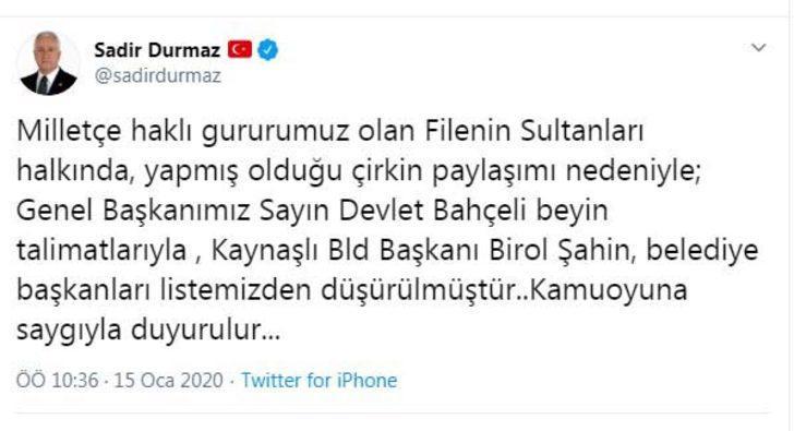MHP'li Durmaz: Kaynaşlı Belediye Başkanı, listeden düşürüldü