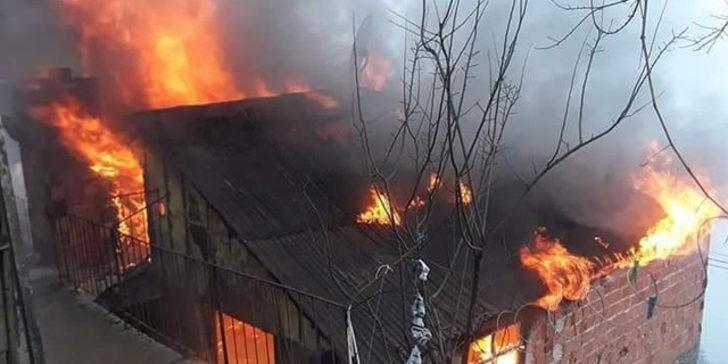 Giresun'un Güce ilçesinde köy evinde çıkan yangın korkuttu