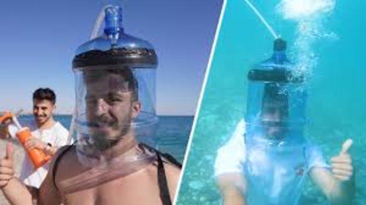 'Deli Mi Ne?' isimli Youtuber denizin altında nefes aldıran yeni bir alet icat etti