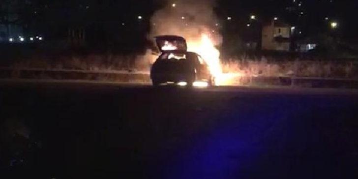 'Dur' ihtarına uymayan sürücü kaza yaptı, otomobil alev aldı