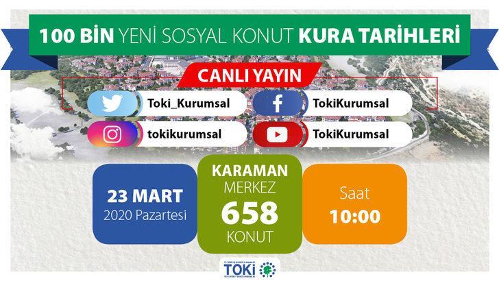 TOKİ Karaman Kırbağ çekilişi yapılıyor: Kura sonuçları canlı yayında!