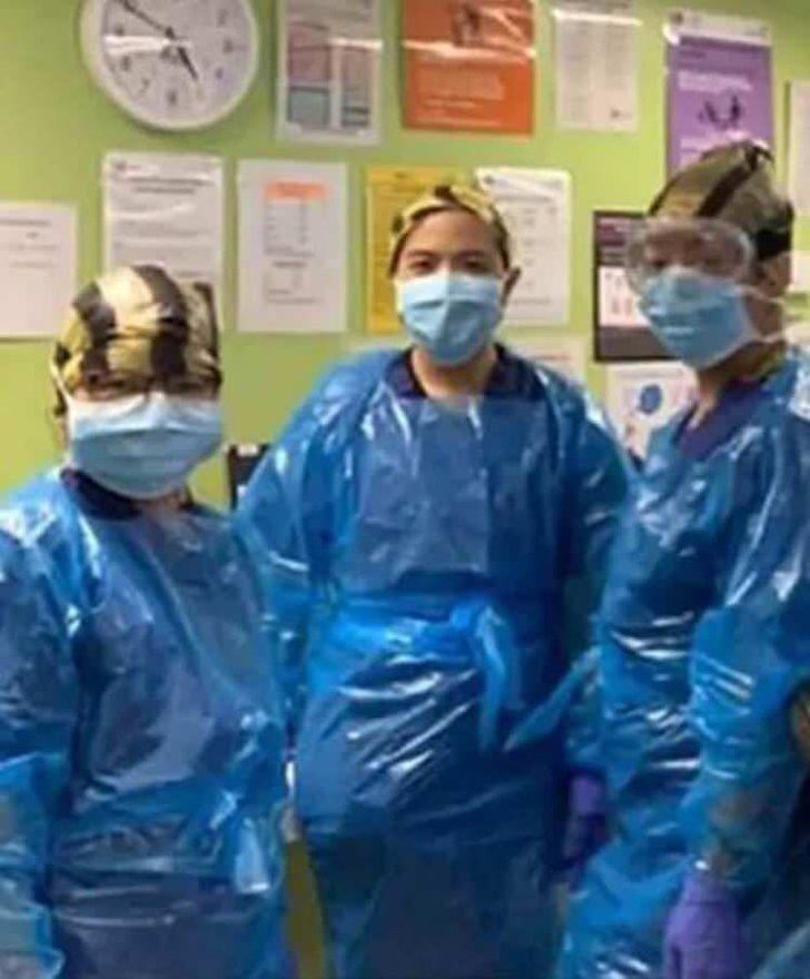 Sağlık çalışanları maske kalmayınca çöp poşeti takmaya başladı ...