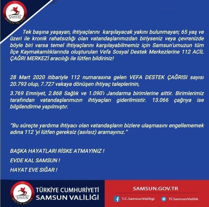 Samsun'da 20 bin 793 vefa destek çağrısı alındı