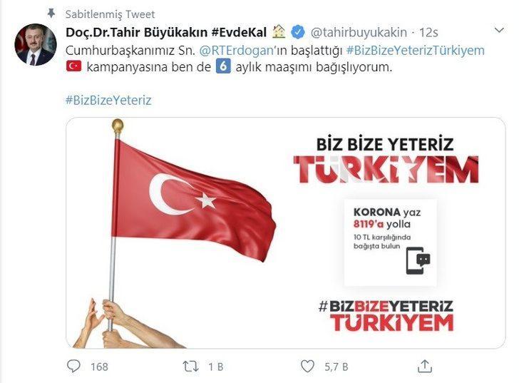 Kocaeli Büyükşehir Belediye Başkanı Tahir Büyükakın 6 aylık maaşını bağışladı