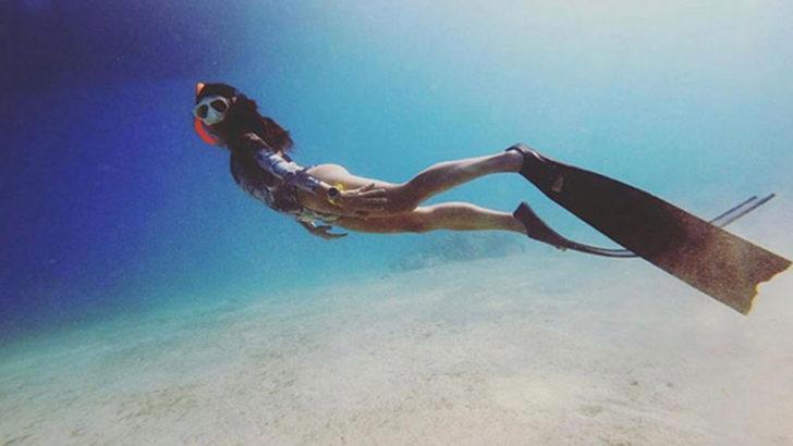 Milli serbest dalışçı Fatma Uruk'a Meksika'da koronavirüs engeli