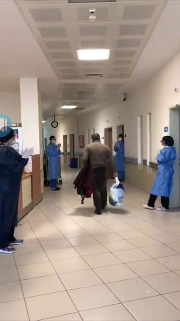 Karacabey'de korona virüsü yenen hasta alkışlarla taburcu edildi
