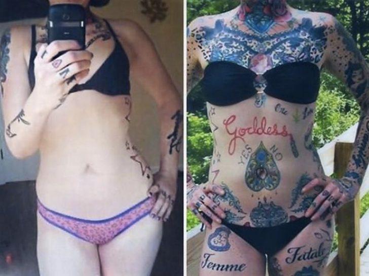 Yüzü dahil vücudunun her yerinde yüzlerce dövmesi olan kadın, dövmelerini takipçileri ile paylaştı