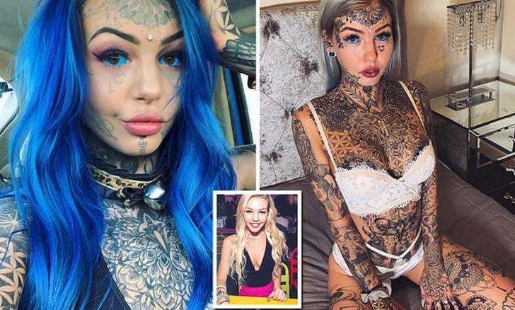 Dövmelerine 20 bin sterlin harcayan Amber Luke dövmesiz halini paylaştı