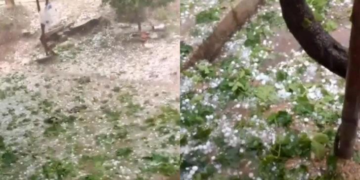 Antalya'da ceviz büyüklüğünde yağan dolu her yeri beyaza bürüdü