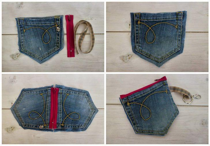 Eski pantolonları çöpe atmayın! Onları çanta, cüzdan veya önlüğe çevirebilirsiniz!