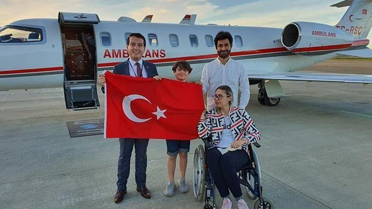 Beyninde tümör bulunan Türk vatandaşı ambulans uçakla Norveç'ten getirildi