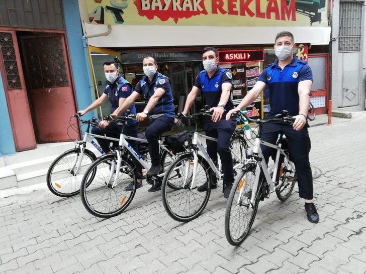Giresun'da bisikletli zabıta ekipleri iş başında