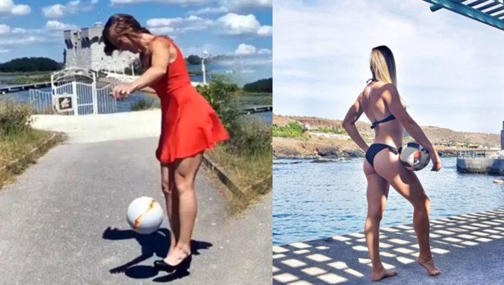 Kadın futbolcu Melody Donchet, topuklu ayakkabılarıyla şov yaptı