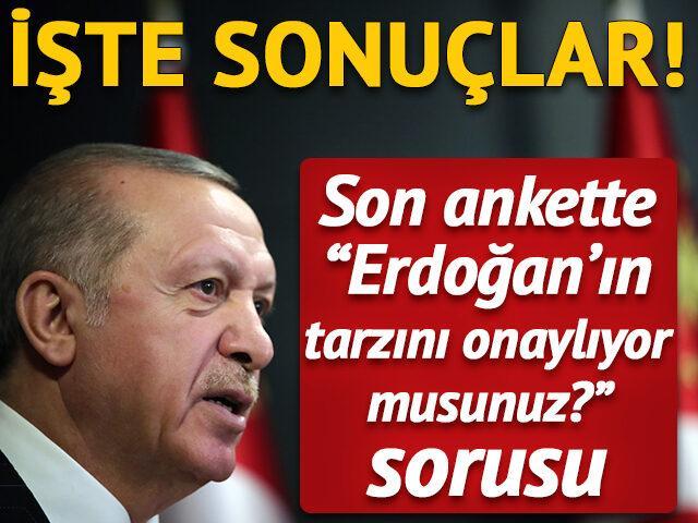 Son ankette 'Erdoğan'ın tarzını onaylıyor musunuz?' sorusu
