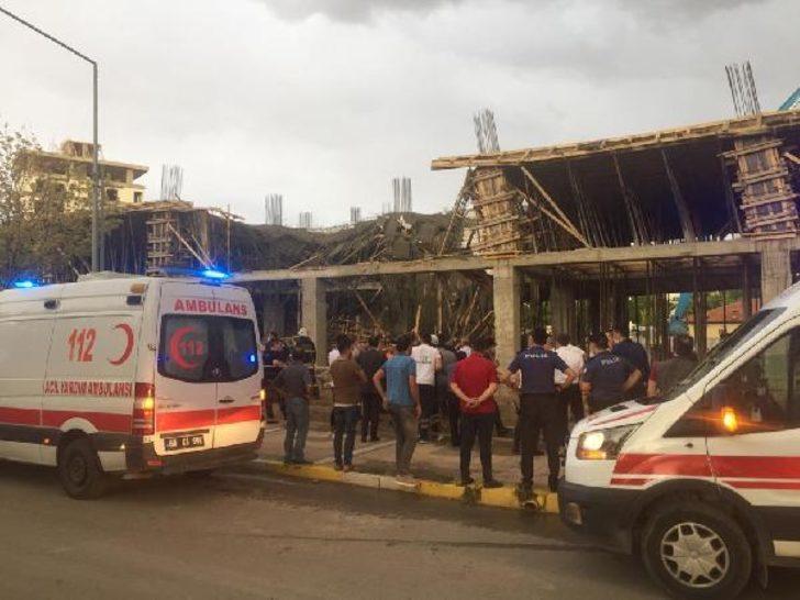 Beton dökülen inşaatta çökme: 2 işçi yaralandı