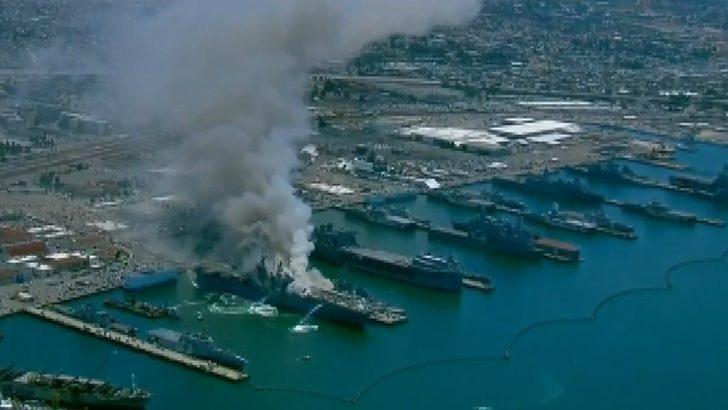200 kişinin içinde bulunduğu ABD donanmasına ait gemide patlama!