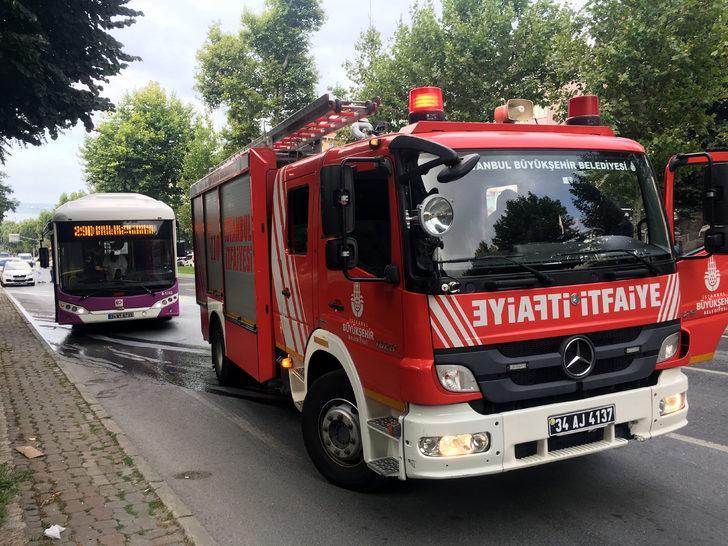 Beşiktaş'ta halk otobüsünde yangın paniği