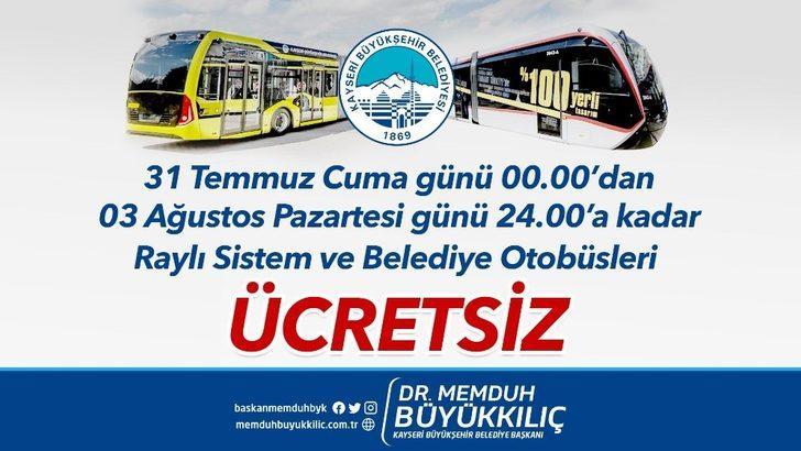Bayramda belediye otobüsleri ve tramvaylar ücretsiz