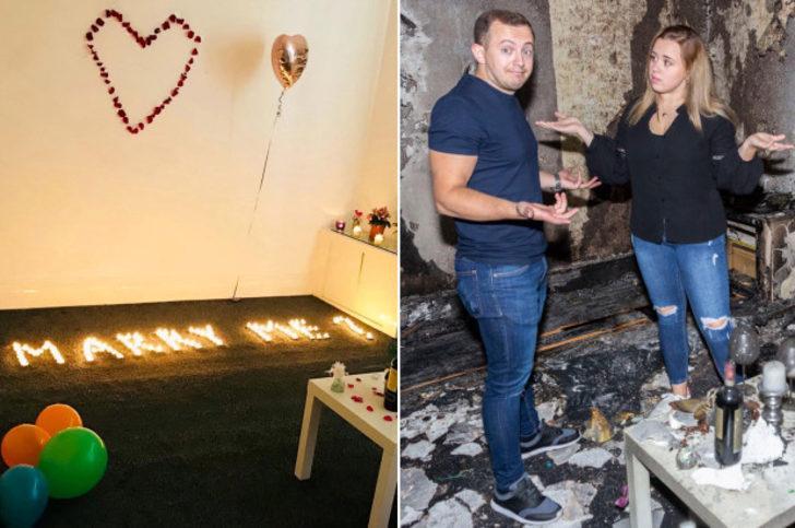 Romantik evlilik teklifi daireyi yakıp kül etti