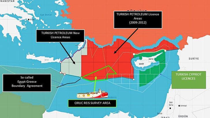 Dışişleri Bakanlığı paylaştı: İşte Oruç Reis'in faaliyet sahasını gösteren harita