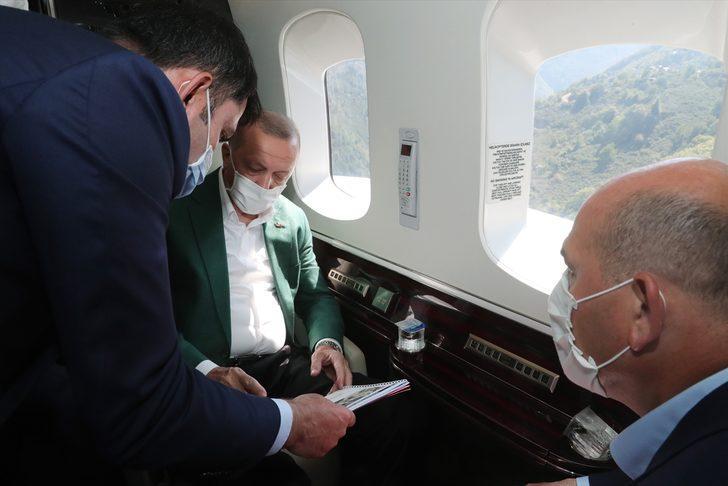 Cumhurbaşkanı Erdoğan Giresun'da! Sel bölgesini havadan inceledi