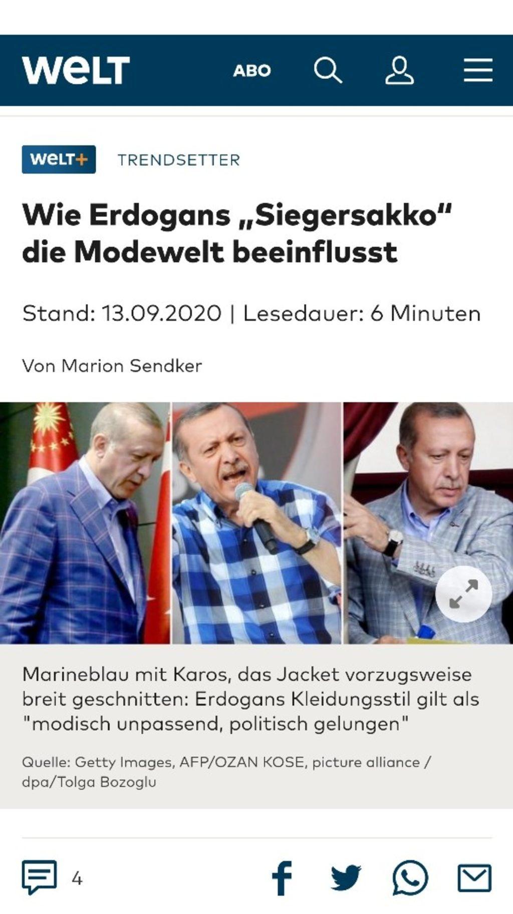 Cumhurbaşkanı Erdoğan'ın 'ceketi' Alman Welt gazetesine haber oldu