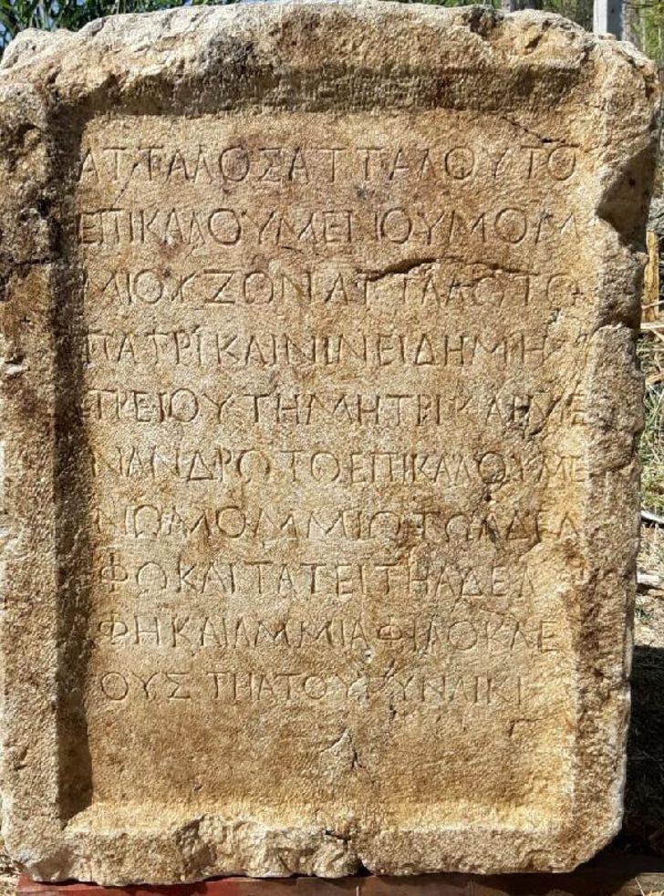 Isparta'da Roma dönemine ait bin 800 yıllık kitabe ele geçirildi