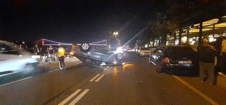 Yer: Sarıyer! Park halindeki otomobile çarpıp takla attı: 1 yaralı