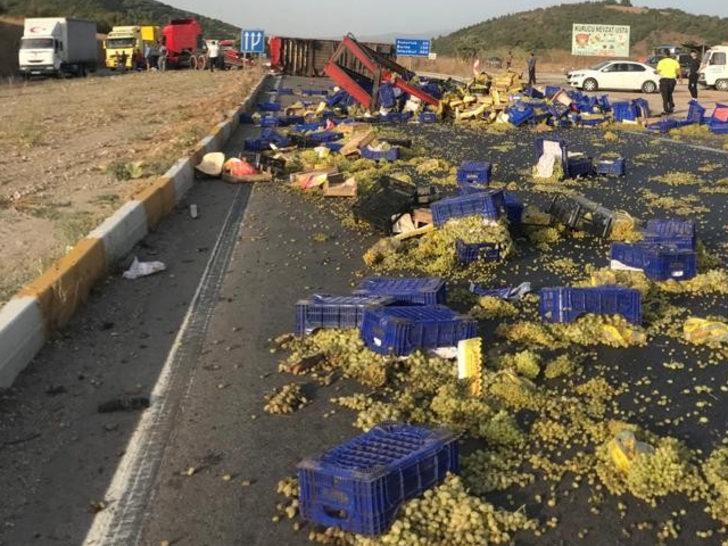 Yol üzüm tarlasına döndü! Balıkesir'de feci kaza