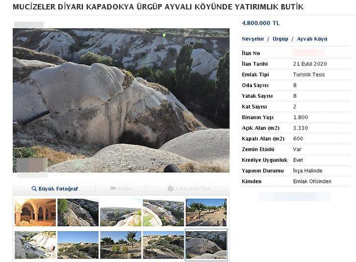 Kapadokya'da kayalar oyuldu, 'butik otel' olarak satışa sunuldu