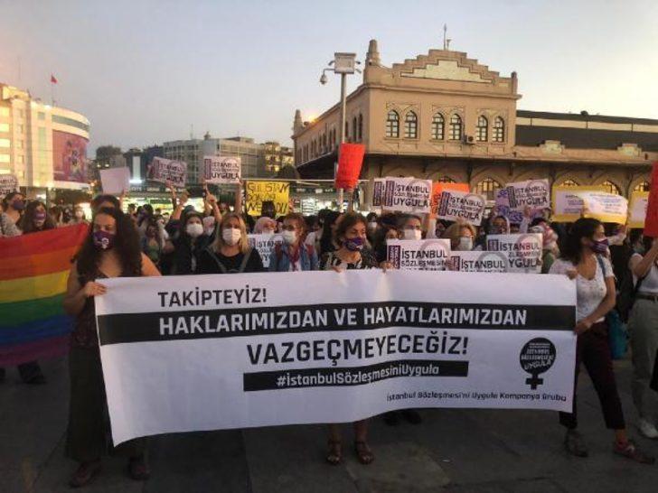 Kadıköy'de kadınlardan kadına şiddet eylemi