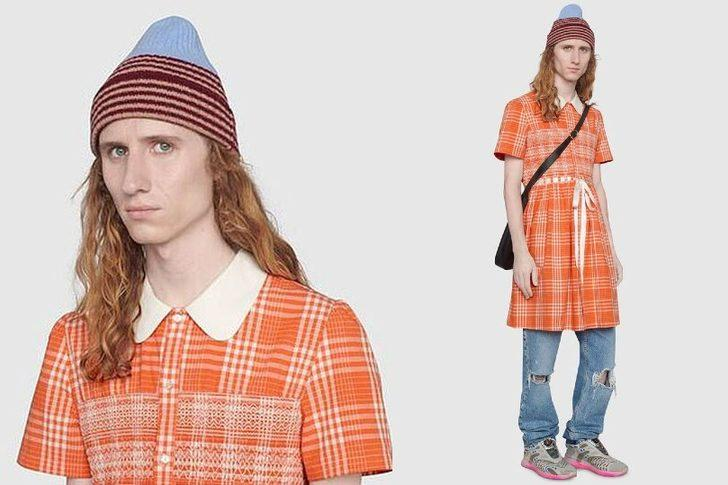 Gucci, erkeklerin tabularını yıkmaları için 1.700 sterlinlik ekose elbise tasarladı