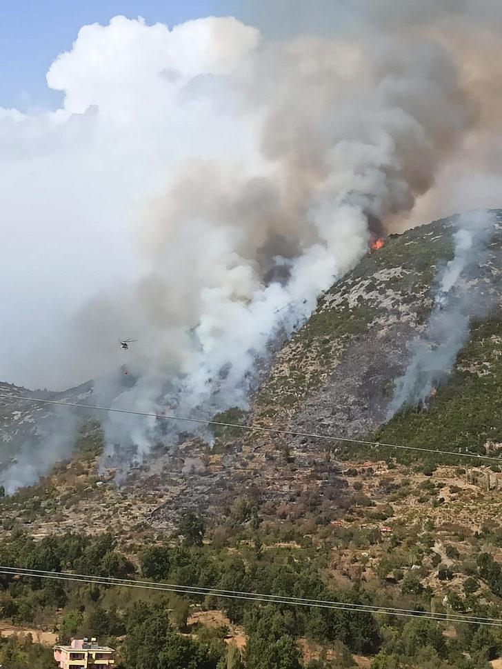 Alanya'da makilik alanda korkutan yangın