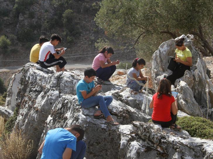 Yer: Muğla! Öğrenciler EBA'ya bağlanmak için dağa çıkıyorlar