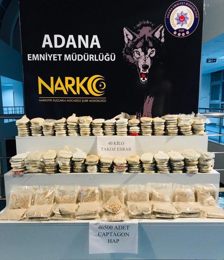 Adana'da 46 bin 500 uyuşturucu hap ile 40 kilogram esrar ele geçirildi